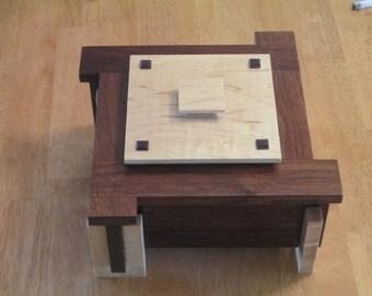 Solid Walnut and Maple Memory Box / Keepsake Box / Jewelry Box