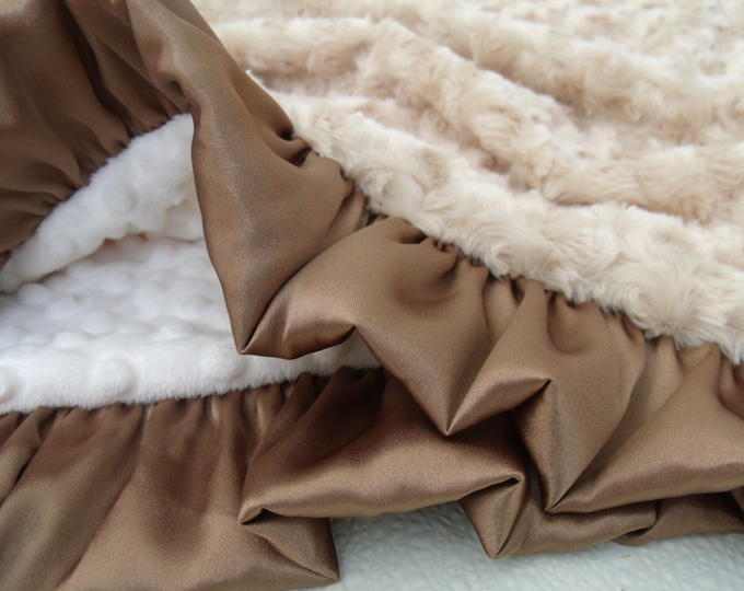 Cream and Tan Light Brown Minky Blanket, Photo Prop Baby Shower or Graduation Gift