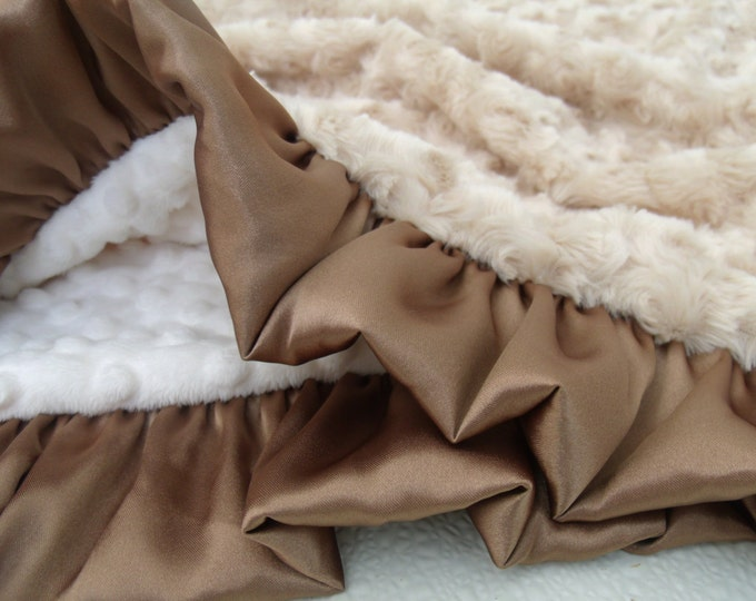 Cream and Tan Light Brown Minky Blanket, Photo Prop Baby Shower or Graduation Gift Can Be Personalized