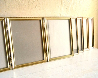 Set of 5 Gold Metal Hinged Picture Frames Triple Tri-fold Unique