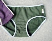 Organic cotton hipster - green french terry panties - pick your color and trim
