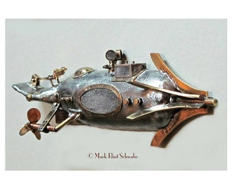 S P Nautilus steampunk submarine sculpture, interactive - 4 moving parts