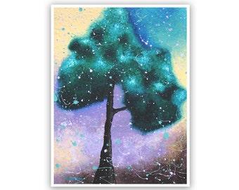Tree Wall Art, Tree Art Rustic Decor, Tree of Life Abstract Landscape, Archival Art Print