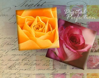Instant Download Digital Collage Sheet - Roses 1 inch squares for your Artwork - DigitalPerfection digital collage sheet 239