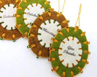 Wool Felt  Thanksgiving Word Ornaments with Beading - Set of 4