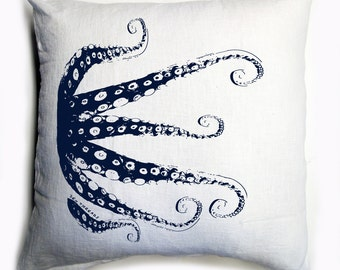 OCTOPUS Tentacles White & Navy Eco Throw Pillow Cover 20x20