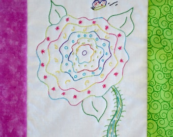 """PDF Stitchery Pattern: """"Butterfly Fancy"""" Stitchery Embroidery Whimsical Flower"""