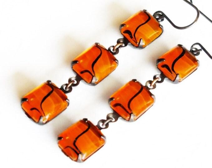 Orange Dangle Earrings Vintage Art Deco Clear Glass Rhinestone Tangerine Orange Glass Earrings