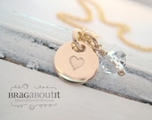 Tiny Heart Necklace - Hand Stamped Gold Necklace -  14K Gold Filled Jewelry - Teeny Tiny Golden Love