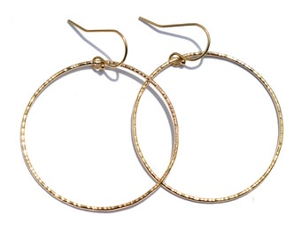 Hammered Hoop Earrings, Skinny Lightweight Hoops, Everyday Jewelry Silver Rose Gold