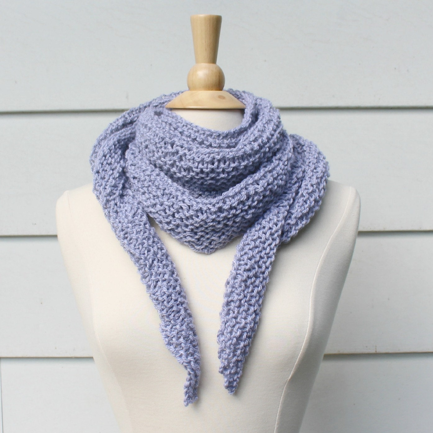 Hand knit scarf womens scarf light gray knit triangle scarf