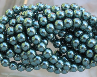 4mm Green Glass Pearl Beads 16 Inch Strand (BS530)