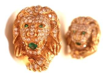 Diamond & Emerald Earrings, Vintage Fine Jewelry Diamond Gemstone Gold Lion Earrings, 18k Yellow Gold and Diamond Earrings, 34 Grams