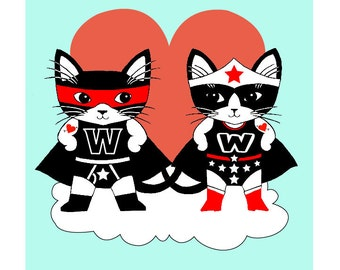 The Invincible Wonders Tuxedo Cats Love 8 x 10 Art Print