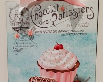 Shabby Cottage French Cupcake / Kitchen / Bakery /  Custom Wood Wall Plaque Sign