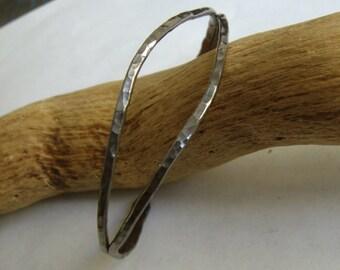 Sterling silver Black bracelet Split cuff-hammered forged Oxidized Black- metalsmith work-Handmade