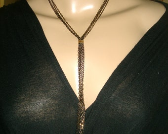 Copper Black chain long necklace Multichain lariat gold and copper colors.