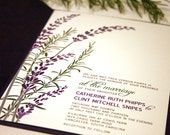 Reserved for Michelle LoFaso, Balance of Lavender Wedding Invitations