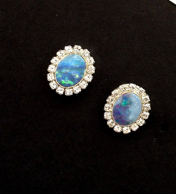 opal stud earrings australian black opal earrings lightning