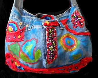 Recycled Jeans Bag ,  Recycled messenger Bag , Hippie Style