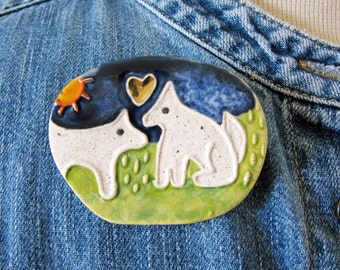 Doggie Love Brooch Stoneware Clay