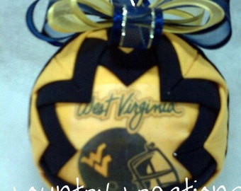 HANDMADE QUILTED Ornament /blueand gold fabric /great gift idea/2011 West Virginia Handmade Quilted Ornaments (Ready to Ship)