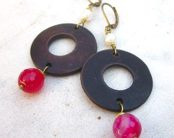 Wooden hoop dangle earrings pearls agate drop earrings wood circle drop earrings