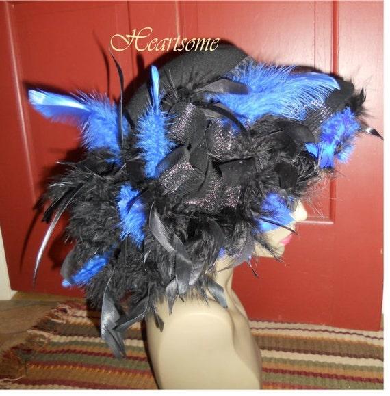 Victorian Hat feathers Edwardian style Derby Downton black blue