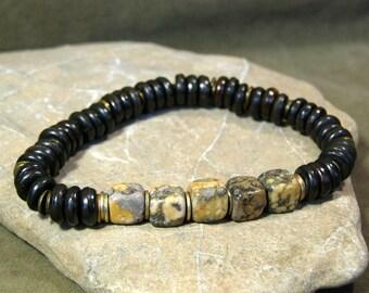 Mens Bracelet, Stretch Bracelet, Gemstone Bracelet, Rustic Beaded Bracelet, Bone Bracelet, Mens Jewelry, Bracelet for Men, Jasper Bracelet