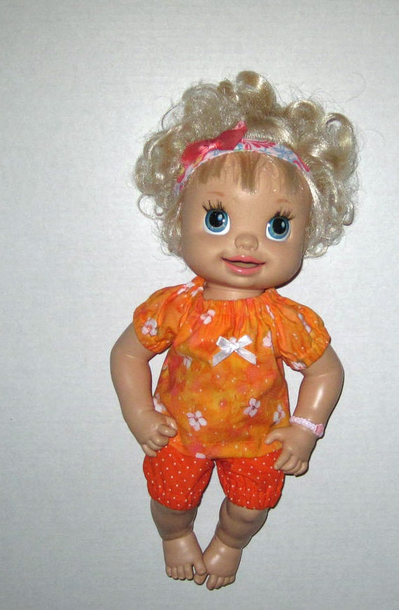 Real Baby Alive Orange Blossom Top and Short Set Doll Clothes