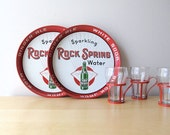 rock spring beverage tray 1950 bar collectible red tin
