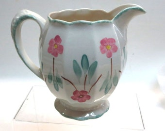 Vintage Blue Ridge Pottery Grace Shape Pitcher with Pink Flowers & Turquoise Leaves
