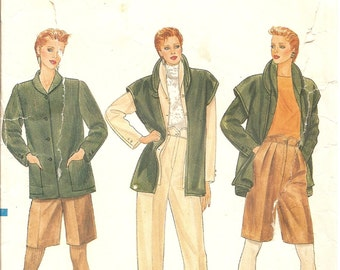 1980s Vintage Sewing Patterns -  Vogue 8403 - 80s Jacket Pattern - 1980s Vest Pants Shorts Pattern -  80s High Waisted Pleated Pants - Uncut
