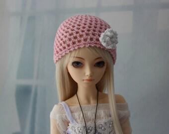 Pink Crochet hat for MSD BJD, 1/4 Dollfie, Minifee