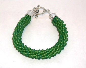 Beautiful Light Green Kumihimo Beaded Bracelet - 1364