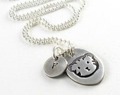 Silver Cat Necklace Personalized Initial Necklace Gift For Cat Owner Pet Lover Necklace Silver Cat Face Charms