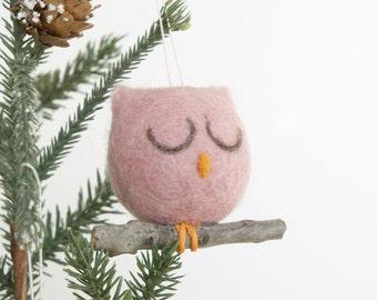 Needle Felted Owl Ornament, Christmas Ornament, Pink Owl Decoration, Felt, Natural, Eco Friendly, Cute, Sugar Plum, Cute Woodland Rustic