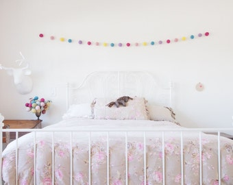 Pastel Rainbow Garland, LARGE Felted Wool Balls, Nursery