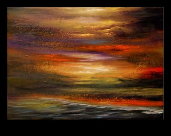 art painting abstract original painting wall art seascape landscape 18 x 24 Mattsart