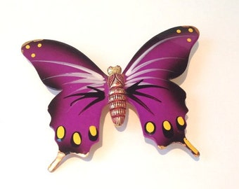 Cool vintage 60s magenta  hand painted metal butterfly brooch // wedding bouquet // bridal // purple