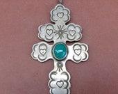 CUSTOM ORDER C Turquoise Silver Southwest Large Cross Pendant Boho