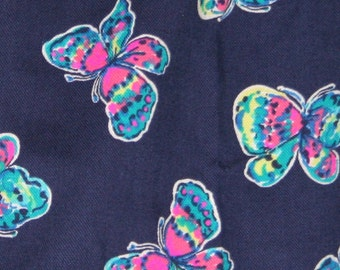 Ladies top made with Lilly Pulitzer bright navy Ive got butterflies fabric