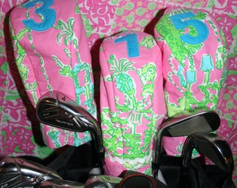 3 Golf Club covers made with Lilly Pulitzer fabric