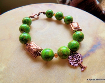 Green Mosaic Turquoise Bracelet, Chunky Bracelet, Copper Bracelet, Leaf Bracelet, TOL Jewelry, Handcrafted Jewelry, Boho Jewelry