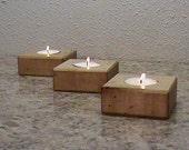 Wood Tea Light Holder Set OF Three - Candle Holder - Wood Candle Holder - Square Candle Holder - Reclaimed Wood
