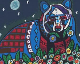 Cross Stitch Kit Bear Abstract Folk Art By Heather Galler