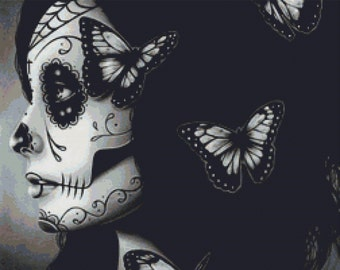 Modern Cross Stitch Kit ' Flutter By ' By Carissa Rose Needlecraft Kit - Day of the Dead Sugar Skull and Butterflies