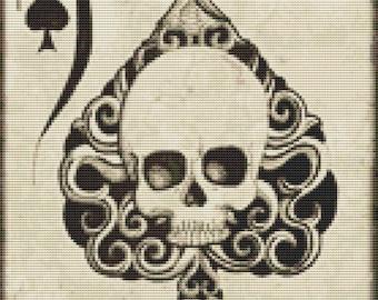 Ace of Spades, Skull Cross Stitch, Modern Cross Stitch Kit,  Shayne of the Dead Art,  ' Ace , Skull Needlecraft kit