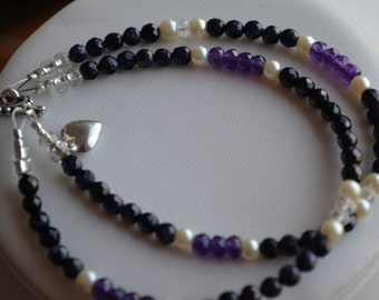 Bracelet - Two Strands of Bue Goldstone, Amethyst and Glass Pearls with Sterling Puffed Heart Charm