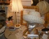 sale, Pair LAMP SHADES, Hand Made,'OOAK' gorgeous,Sequins, Vintage applique, cotton, Unique, Pink, Cream, Antique Metal frame